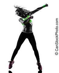 frau, silhouette, zumba, tanzen, trainieren, fitness