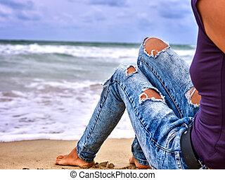 frau, Sitzen, Beine, Bein,  selfie, hund, heiß, wasserlandschaft, kueste, Wellen