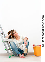frau sitzen, boden, junger, painting., lackierer, nach