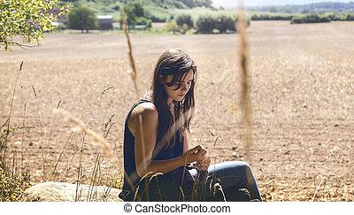 frau sitzen, junger, traurige , nachdenklich, gestein, porträt