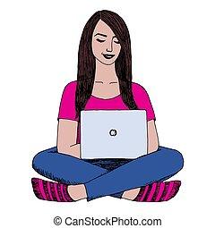 frau sitzen, kreuzen-beinig, und, arbeiten, laptop., kreativ, job., freelance., internet, chatting., hand, gezeichnet, vektor, sketch., weißer hintergrund