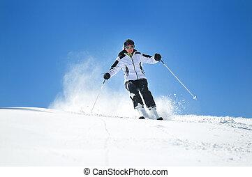 frau, ski, winer