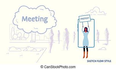 frau, smartphone, besitz, menschenmasse, beweglich, geschäftsfrau, schirm, tafel, protest, draußen, anwendung, silhouetten, begriff, hintergrund, versammlung, gebrauchend, horizontal, skizze, landschaftsbild