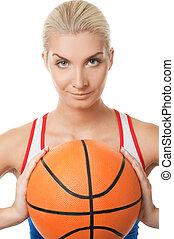 frau, spielen basketball