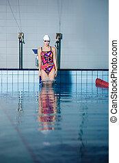 frau, springen, schwimmbad