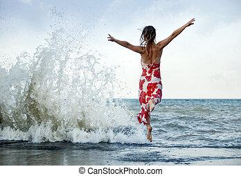frau, springende , strand