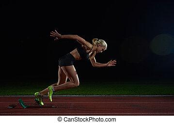 frau, sprinter, abgang, anfangende blöcke