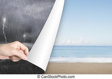 frau, stürmisch, sandstrand, wasserlandschaft, ersetzen, gelassen, geben offen, seite
