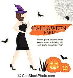 frau, standort, hexe, partyhut, halloween, tragen, banner