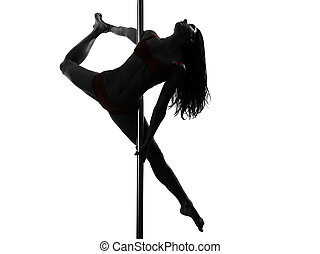 frau, stange, tänzer, silhouette