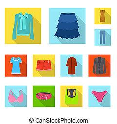 frau, stock., kleidung, gegenstand, freigestellt, sammlung, vektor, tragen, logo., ikone