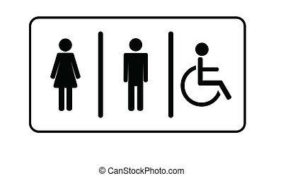 frau, symbol, eins, invalide, toilette, vektor, toilette,...