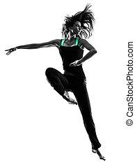 frau, tänzer, silhouette, tanzen