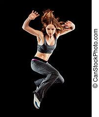 frau, tänzer, tanzen, moderner tanz, springen, auf, a, schwarz