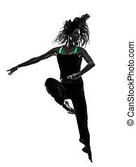 frau, tänzer, tanzen, silhouette