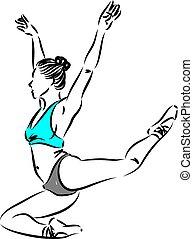 frau, tänzer, vektor, abbildung, 2