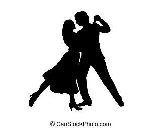 frau, tanz, mann, silhouette