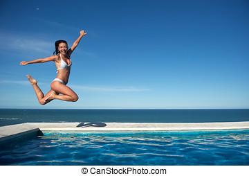 frau, teich, entspannend, schwimmender