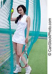 frau, tennis, spielende , schöne