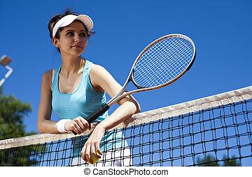 frau, tennis, spielende