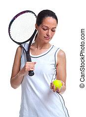 frau, tennisspieler, kugel, besitz, schläger
