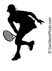 frau, tennisspieler