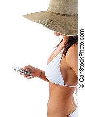 frau, texting