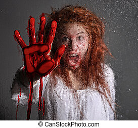 frau, themed, blutung, horror, erschrocken, bild