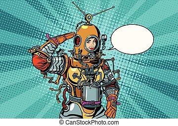 frau, tief, oder, astronaut, retro, meer, salutes, taucher