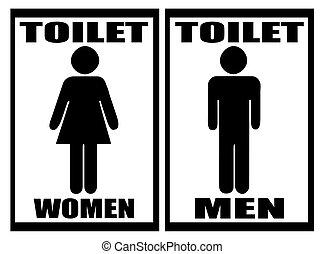 frau, &, toilette, weißes, zeichen, mann