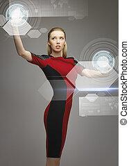 frau, touchscreens, arbeitende , virtuell