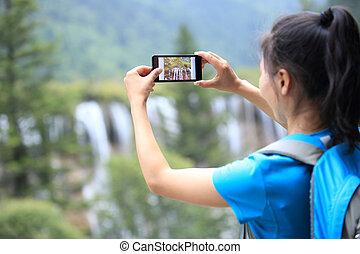 frau, tourist, foto macht