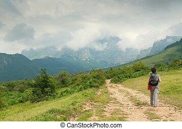 frau, tourist, in, berg