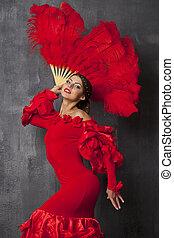 frau, traditionelle , spanischer , flamenco tänzer, tanzen, in, a, rotes kleid