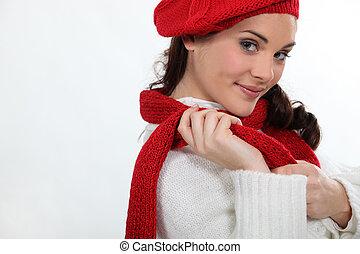 frau, tragen, warme kleidung