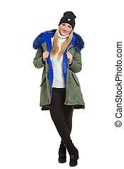 frau, tragen, winterjacke, schal, und, kappe