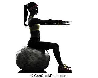 frau, trainieren, eignung- kugel, workout, silhouette