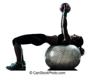 frau, trainieren, eignung- kugel, workout