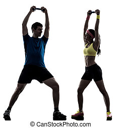 frau, trainieren, fitness, gewichtstraining, mit, mann, trainer, silhouet