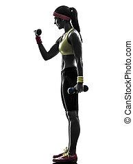 frau, trainieren, fitness, workout, gewichtstraining, silhouette