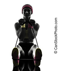 frau, trainieren, fitness, workout, widerstand, bänder, silhouette