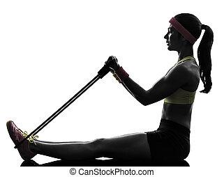 frau, trainieren, fitness, workout, widerstand, bänder,...