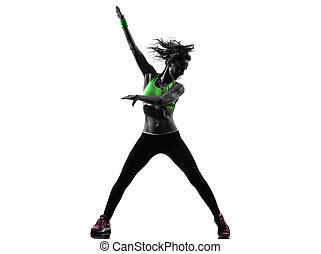 frau, trainieren, fitness, zumba, tanzen, silhouette