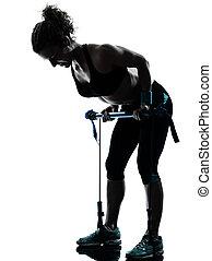 frau, trainieren, gymstick, fitness, workout