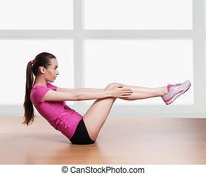 frau, trainieren, knirschen, fitness, workout, arme kopf