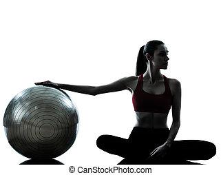 frau, trainieren, kugel, fitness