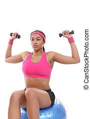 frau, trainieren, mit, gewichte