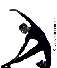 frau, trainieren, parighasana, tor, haltung, joga, silhouette