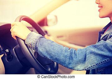 frau, treiber, junger, asiatisch, fahren