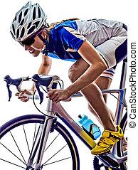 frau, triathlon, athlet, radfahrer, radfahren
